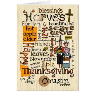 Thanksgiving Wordcloud - cousin Carte De Vœux