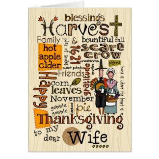 Thanksgiving Wordcloud - épouse Carte De Vœux