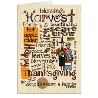 Thanksgiving Wordcloud - fille et sa famille Carte De Vœux
