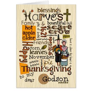 Thanksgiving Wordcloud - filleul Carte De Vœux