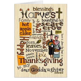 Thanksgiving Wordcloud - filleule Carte De Vœux