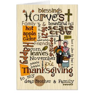 Thanksgiving Wordcloud - frère et sa famille Carte De Vœux