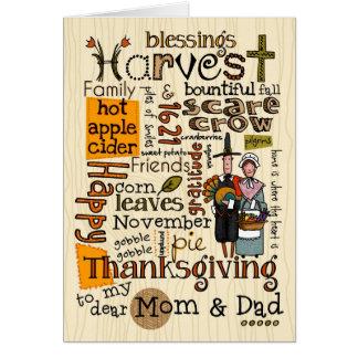Thanksgiving Wordcloud - maman et papa Carte De Vœux