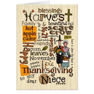 Thanksgiving Wordcloud - nièce Carte De Vœux