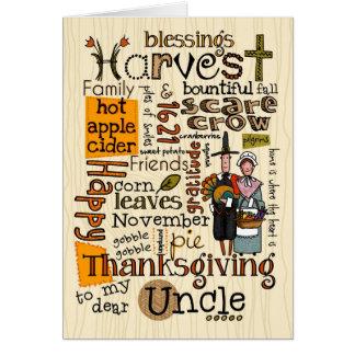 Thanksgiving Wordcloud - oncle Carte De Vœux