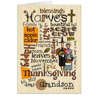 Thanksgiving Wordcloud - petit-fils Carte De Vœux