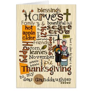 Thanksgiving Wordcloud - petite-fille Carte De Vœux
