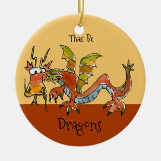 Thar soit des dragons ornement rond en céramique