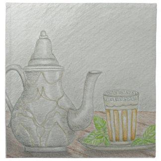 thé avec la menthe serviettes imprimées