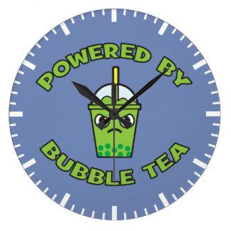 Thé de bulle, actionné par le thé de bulle - grande horloge ronde