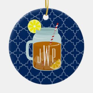 Thé doux décoré d'un monogramme de pot de maçon - ornement rond en céramique