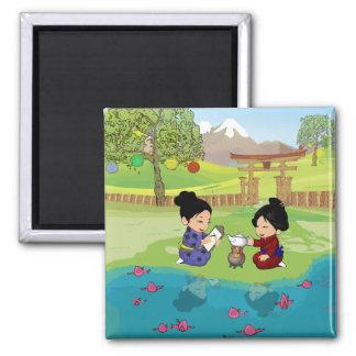 Thé inspiré oriental mignon par le lac magnet carré