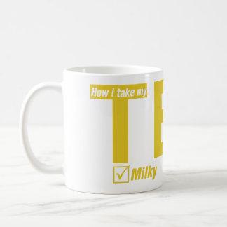 Thé, laiteux, aucun sucre mug
