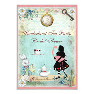 Thé nuptiale de douche d'Alice et de flamant rose Carton D'invitation 12,7 Cm X 17,78 Cm
