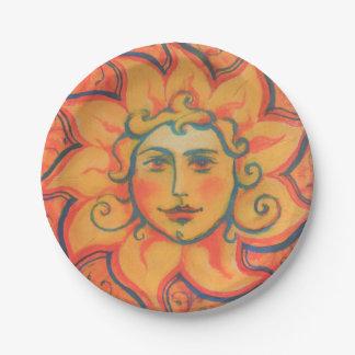 The Sun, sunface, rouge jaune-orange, art Assiettes En Papier