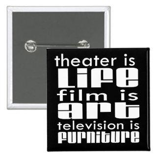 Théâtre contre le film contre la TV Badge Carré 5 Cm