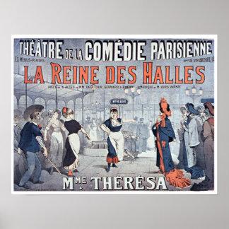 Théâtre vintage de comédie de DES Halles de Reine Poster