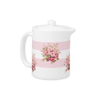Théière du bouquet de Jane petite de rayure rose