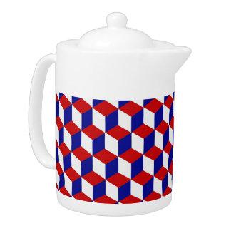 Théière - illusion de bloc en rouge, blanc, et le