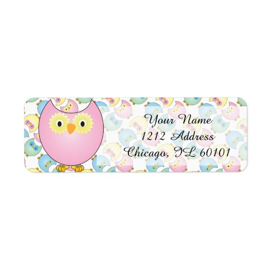 Thème de baby shower de hibou de rose en pastel étiquettes d'adresse retour