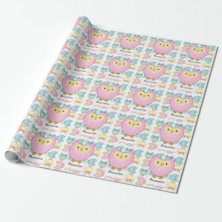 Thème de baby shower de hibou de rose en pastel papiers cadeaux