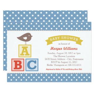 Thème de blocs d'alphabet de l'invitation | ABC de Carton D'invitation 12,7 Cm X 17,78 Cm
