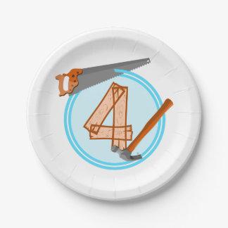 thème de constructeur de fête d'anniversaire de 4 assiettes en papier