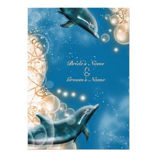 Thème de plage - partie élégante de dauphin de mar invitations personnalisables