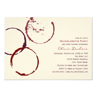 Thème de vin rouge de la partie | de Bachelorette Carton D'invitation 12,7 Cm X 17,78 Cm