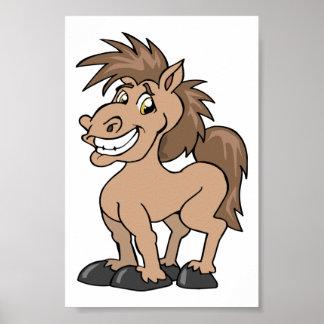 Thème équin de sourire de cheval idiot de poney de poster
