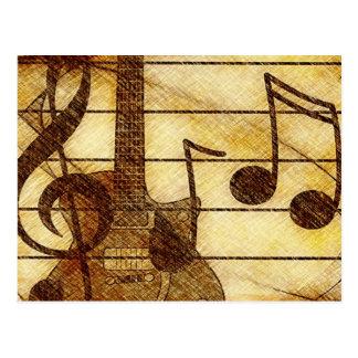 Thème musical avec la guitare carte postale