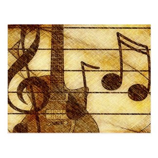 Thème musical avec la guitare cartes postales