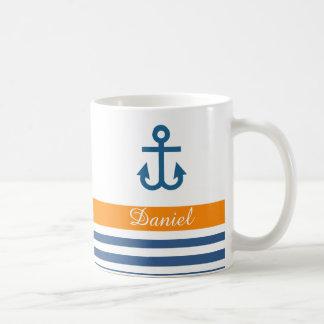 Thème nautique de marine orange mug blanc