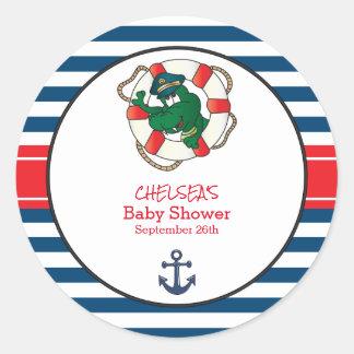 Thème nautique mignon de baby shower d'alligator sticker rond