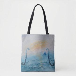 Thème original de violon et d'océan de peinture de tote bag