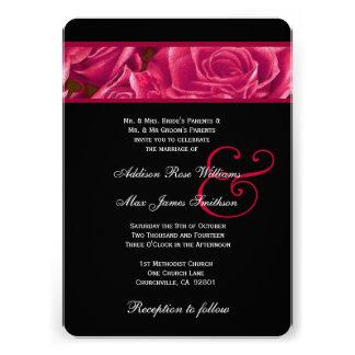 Thème rouge et noir élégant de roses épousant V05 Invitations