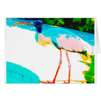 Thème tropical de graphique de cigogne carte de vœux