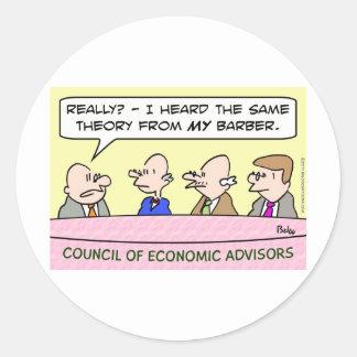 théorie économique de conseil de coiffeur sticker rond