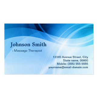 Thérapeute de massage - créatif bleu moderne carte de visite standard