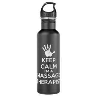 Thérapeute de massage - gardez le calme bouteille d'eau en acier inoxydable