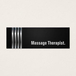Thérapeute de massage - rayures argentées noires mini carte de visite