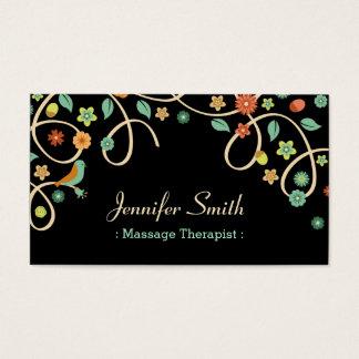 Thérapeute de massage - remous élégant floral cartes de visite