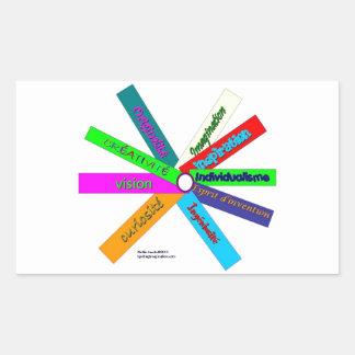 Thésaurus de créativité Roue-Français Stickers Rectangulaires