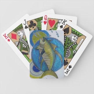 Thons jaunes majestueux d'aileron jeux de cartes