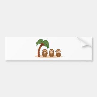 Three little monkeys - trois barboteuses autocollant de voiture