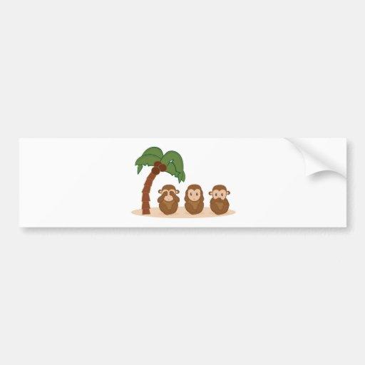 Three little monkeys - trois barboteuses autocollant pour voiture