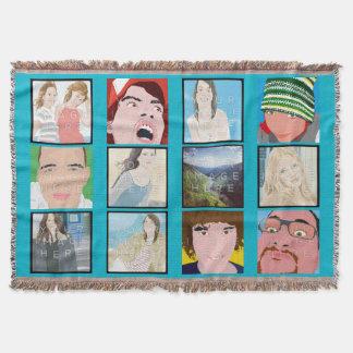 Throw Blanket de mosaïque d'Instagram de lt Blue Couvre Pied De Lit