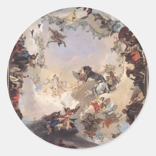 Tiepolo-Allégorie de Giovanni des planètes, contin Autocollants Ronds