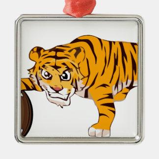 tiger4 ornement carré argenté