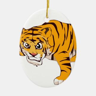 tiger4 ornement ovale en céramique